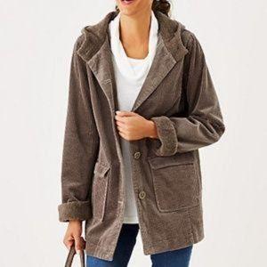 J. Jill Tumbled Corduroy Hooded Jacket Size M